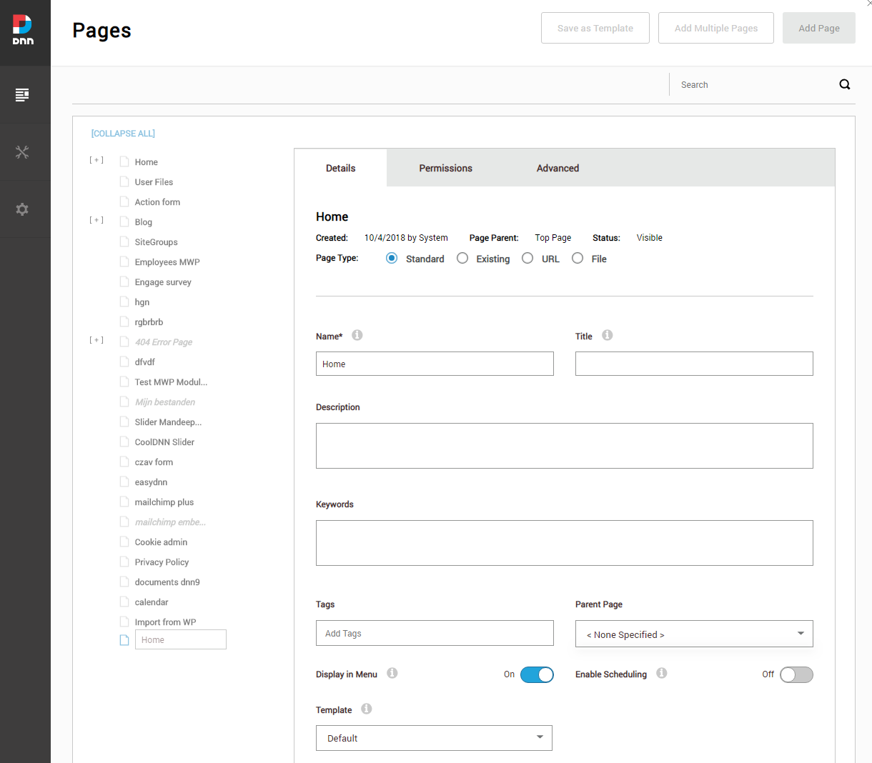 DNN Page Management